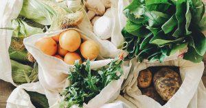 Fresh vegetables in bags