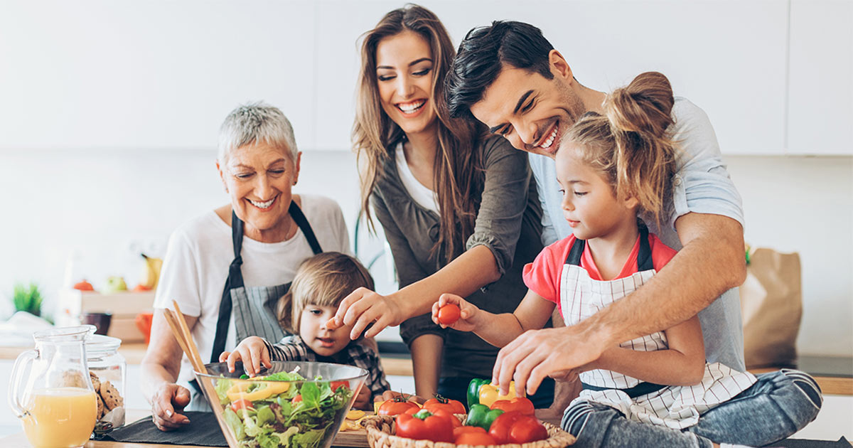 A family preparing dinner together