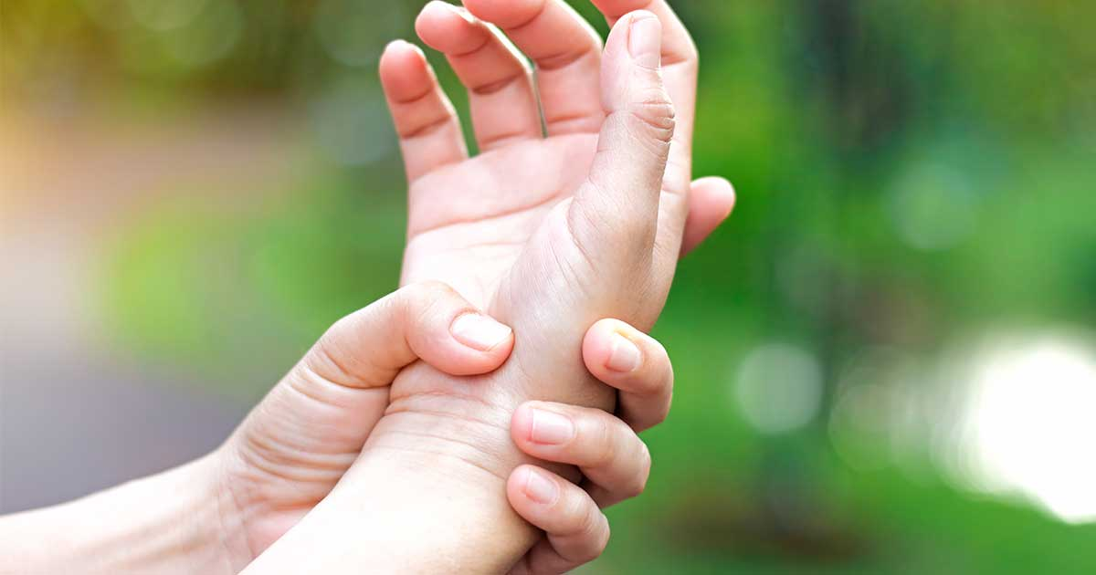 a hand with rheumatoid arthritis wrist pain